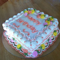 Lawson Borders French vanilla cake with buttercream filling for my MIL. I wanted to practice some Lawson borders