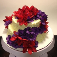 Red And Purple Flower Cake