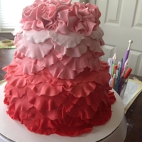Ombre' Ruffle Cake I wanted to join the cc club and have a Ruffle Cake! :) Tiered Cake buttercream crumb coat, fondant over that, then ruffle 1/2 circles...