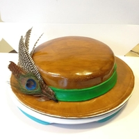 Painted Brown Hat With Feathers