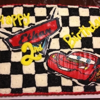 Cars Birthday Cake Buttercream cake, Ethan name and the car are buttercream transfers