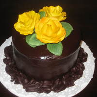 Chocolate Cake With Chocolate Mocha Cream Filling Covered In Ganache The Flowers Are Gumpaste My First Gumpaste Roses Ive Made   Chocolate cake with chocolate mocha cream filling covered in ganache. The flowers are gumpaste. My first gumpaste roses I've made.