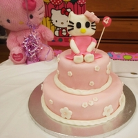 Hello Kitty Cake This was my first time making an edible hello kitty topper.This was a 2 tiered cake:top tier was chocolate cake with Oreo buttercream...
