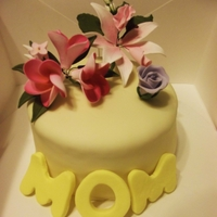 Mother's Day Cake Fondant Flowers and letters. 100% edible