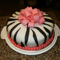 Zebra Cake View 2 First time to use fondant