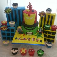 My Sons 5Th Superhero Birthday Cake/cupcakes