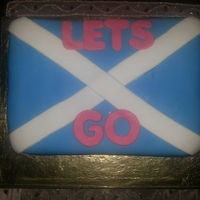 Let's Go To Scotland   Scotland flag cake3 layers of chocolate cake filled in BC & covered in mmf
