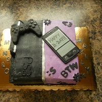 Friends Birthdays Playstation 3 and love for texting. This cake I made for two friends that celebrated their birthdays together. The PS3 side simulated the...