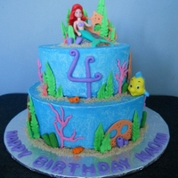 Under The Sea Ariel, The little Mermaid cake for one of my nieces. All decorations are gumpaste and Ariel and Flounder are toy figurines.