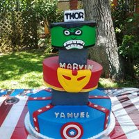 Avengers Buttercream cake with gumpaste and fondant decorations
