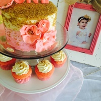 Pink And Gold Sprinkle Smash Cake Pink ombré with gold sprinkles, ruffle flowers, first birthday