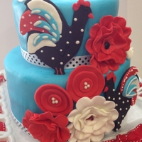 Retro Chic Rooster Retro Chic Rooster cake with ruffle flowers