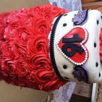 Heart Tattoo Sweet 16 An edgy red rose, heart tattoo cake. Red, White and Black