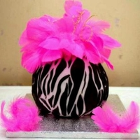 Zebra Ball Cake With Fuschia Feathers & Hand Twisted Wire Lettering.