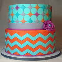 Teal And Orange Chevron   Buttercream cake with fondant decor