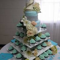 Tiffany Blue Wedding Cupcake Tower 2 *