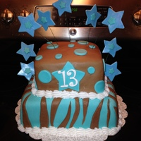 13Th Birthday Cake In Brown Chocolate Fondant And Turquoise With Zebra Print Stars And Polka Dots 13th birthday cake in brown chocolate fondant and turquoise with zebra print, stars, and polka dots
