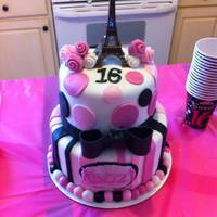 Sweet 16 Paris Themed Cake With Stripes Polka Dots Roses And Bow In Black Pink And White Sweet 16 Paris themed cake with stripes, polka dots, roses, and bow in black, pink, and white
