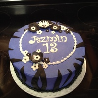 13Th Birthday Cake With Zebra Print And Flowers In Purple White And Black 13th birthday cake with zebra print and flowers in purple, white, and black