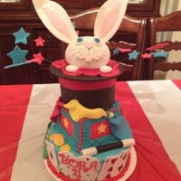 Magician Cake With Rabbit Coming From Hat Magic Box Magic Wand Handkerchiefs Playing Cards Stars And Coins Magician cake with rabbit coming from hat, magic box, magic wand, handkerchiefs, playing cards, stars, and coins
