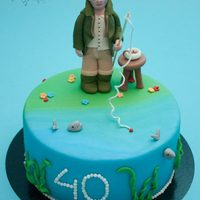 Grumpy Fisherman Cake   All decorations are made out of fondant
