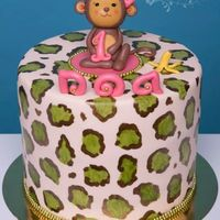Hand Painted Leopard Monkey Cake   I made this cake for my sweet little niece