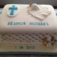 Séamus's Christening - Celtic Cross & Baby In Blanket Cake I made this cake for my grandson's christening, which took place in New Jersey USA 4th January 2015. Triple layer vanilla cake with...
