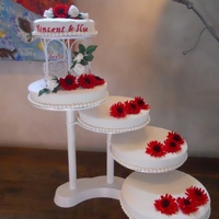 Bridalcake With Gerberas And Roses Made Of Gumpaste   Bridalcake with Gerberas and roses made of gumpaste