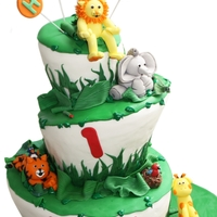 Happy 1St Birthday Red Velvet Cake --- Safari theme