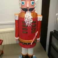 Giant Nutcracker Cake All made with sponge cake (support rods a necessity) The arms and legs were made from a mallow Krispie mix.