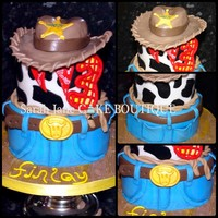 Woody Toy Story Cake Two tier toy story theme cake with woody hat cake on the top. All cake is chocolate covered in milk chocolate ganache with fondant...