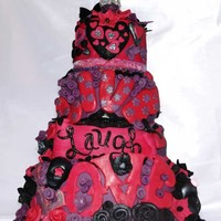Live Laugh Love Cake  21st Birthday pink purple black live laugh love cake, four tiers of chocolate and red velvet filled with a whipped rich chocolate ganache...