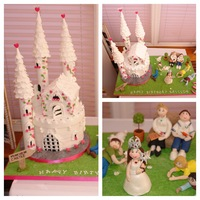 Munchkin Castle Cake Munchkins Castle cake by Sarah Jane Cake Boutique a beautiful two tier castle cake with the Princess and her family