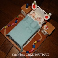 Christmas Eve Bed Time Cake   Chocolate cake with two little boys with their stockings waiting for santa, they