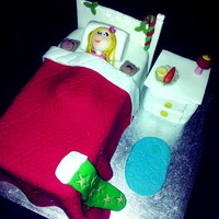 Christmas Eve Bed Cake With The Little Girl Waiting For Santa With Her Mince Pie And Carrot For Rudolph With One Eye Peaking To See Him  Christmas Eve Bed cake - with the little girl waiting for Santa with her mince pie and carrot for Rudolph with one eye peaking to see him...