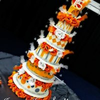 Silver And Orange Bliss Bling Quincenera Cake Silver and Orange bliss Bling, Quincenera cake