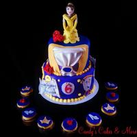 Beauty Bell *Beauty and the beast birthday cake, with matching cupcakes