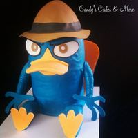Perry Platypus Fondant covered cake with gumpaste beak, hat, hands and feet