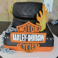 Harley Davidson Cake Worked very hard on this one!! The chain and logo are hand made!