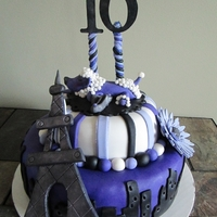Sweet 16 Paris Theme Cake Made the eiffel tower from Gum paste and added lots of sparkle!