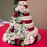 Red And White Cascading Flowers 5 tier cake made for my grandmothers 75th birthday