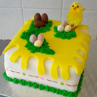 Easter Chocolate Cake Here's a fairly simple Easter cake I did for my family. First time piping grass - really pleased with the results!