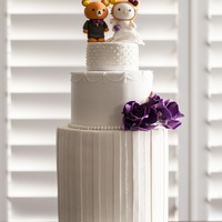 Hello Kitty In Bear Costume And Rilakkuma Wedding Cake With Purple Sugar Roses Hello Kitty (in bear costume) and Rilakkuma Wedding cake with purple sugar roses
