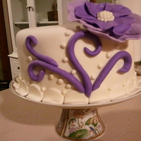 Elegant White And Purple 39Th Birthday Cake