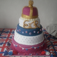 Diamond Jubilee Cake My first ever tiered cake (and third ever decorated cake!!). Bottom two tiers are dummy, middle tier is vanilla sponge (with strawberry jam...