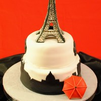 Parisian Themed Retirement Eiffel tower Parisian themed cake