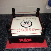 Wrestling Ring Cake Plain vanilla sponge, covered in fondant icing. Posts are plastic dowel rods covered in icing, ropes are strawberry laces.