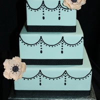 3 Tier Light Turquoise Fondant Cake Royal Icing Swags Sugar Anemones 3 tier light turquoise fondant cake, royal icing swags, sugar anemones