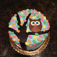Owl Cake Owl sitting in a colorful tree.