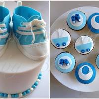 Cake And Cupcakes For A Baby Shower Cake Was Chocolate Mud And Cupcakes Were Chocbanana Mud Baby Converse Shoes And All Toppers Were Indi Cake and cupcakes for a baby shower Cake was chocolate mud and cupcakes were choc/banana mud. Baby converse shoes and All toppers were...